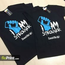 Great shirts for a great cause. FloPrint supports anti-bullying! #printlocal #yqr #regina #sasktel #iamstronger