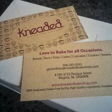 Check out these hot new cards for @kneadedglutenfreebakeshop Printed on 100% recycled and environmentally friendly KRAFT paper. #printlocal #yqr #regina