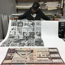 @bigdaddycoop checking out an interesting set of large format prints from earlier today.