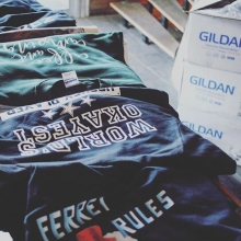Last of the last minute Christmas gift tees ready for pickup. #insideJokes #oneofakind #personalized #tshirts #gildan #christmasGift #giftIdeas