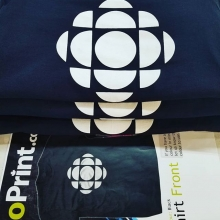 Some fresh, hot Tees for our friends at CBC. #cbc #canada🇨🇦 #saskatoon #cbcsask #blacktees #teamfloprint